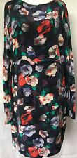 Warehouse Stunning Ladies Silk Dress Front Lined BNWOT Size 14 Long Sleeves