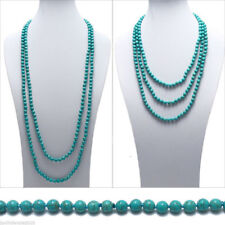 80 Inch Long Genuine 8mm Natural Turquoise Bead Stranded Necklace JN1983