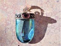 Aqua Aura Quartz + Garnet Sterling Sliver Setting-Infused 24K Gold-99%Clarity