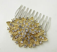 Gold & Silver Hair Comb Art Deco Flapper 1920s Vintage Diamante 1930s Bridal B51