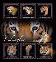 Azerbaijan Tigers Stamps 2017 MNH Big Cats Wild Animals Fauna 6v M/S