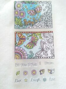 Hampton Art Coloring Clear Stamps Beautiful Dream Butterfly Flower 15 Piece Set