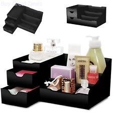 Makeup Cosmetics Organizer Drawers Jewelry Display Box Storage Vanity Tray Black