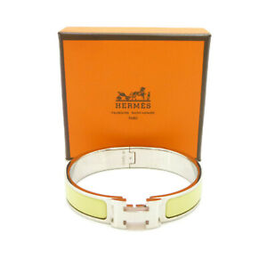 Authentic HERMES Clic Clac PM Enamel Yellow Silver Tone Brass Bangle #S410117