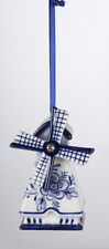 KURT ADLER HAND PAINTED PORCELAIN DELFT BLUE WINDMILL CHRISTMAS ORNAMENT STYLE1