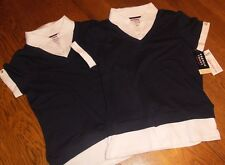 Sz 10/12 Lot of 2 French Toast School Uniform Shirt Navy Blue White Layered Look