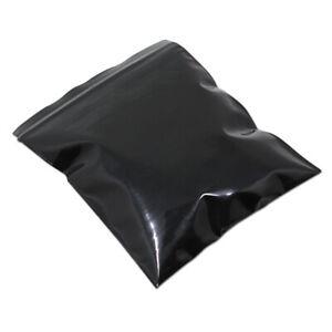 100pcs Reclosable Black Plastic for Zip Bag Lightproof Lock Seal Packing Pouches