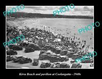 OLD LARGE HISTORIC PHOTO OF COOLANGATTA QLD, VIEW OF KIRRA BEACH ca1940