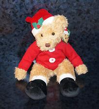 RUSS SAMMY SANTA PLUSH TEDDY BEAR STUFFED ANIMAL Brown Christmas X-mas Holiday