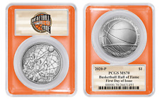 2020 P BASKETBALL HALL OF FAME SILVER DOLLAR $1 PCGS MS70 FIRST DAY OF ISSUE