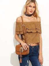 Size 6 Seduce Camel Brown Suede Off The Shoulder Layered Ruffle Top NEW Vintage