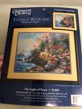 Thomas Kinkade The Light Of Peace Cross Stitch Kit 51009 14x11 Sealed Lighthouse