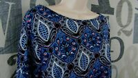 LOFT Ann Taylor Linen Knit Top Women XL Blue Black Red Multicolor Short Sleeve