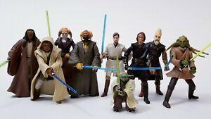 Star Wars Jedi Action Figure Lot Kenobi Fisto Kolar Mundi Sirch Tiin Plo Anakin