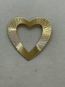 Vintage retro antique 14k yellow gold open heart textured fluted brooch pin 3.7g