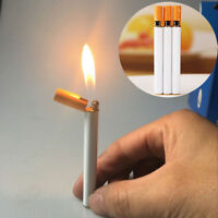 Novelty Windproof Flame Cigarette Shaped Refillable Butane Gas Cigar Lighter