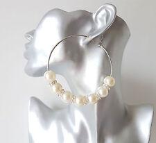 Beautiful 8.5cm large SILVER tone- diamante & faux pearl bead wire hoop earrings