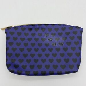 Ipsy Glam Bag Purple With Black Hearts Pink Interior Cosmetic Makeup Bag Only
