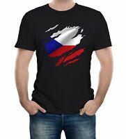 Men's Torn Czech Republic Flag T-Shirt Prague Country national football