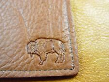 Brown BUFFALO LEATHER Business Card Case Wallet hand crafted disabled vet 5041