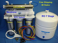 7 Stage(100/150GPD)RO DI UV Reverse Osmosis System Water Filter Clear H2O Splash