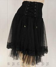 Jupe gothique YANNICK Noir Laçage dentelle résille Taille UNIQUE : 36 38 40 NEUF