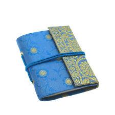 Fair Trade Handmade Mini Sari Fabric Notebook Diary Single Bound Blue