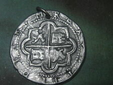 PEWTER SILVER TONE COIN PIECES OF EIGHT PIRATE CROSS PENDANT CHARM NECKLACE