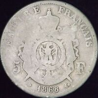 1868-A Good France Silver 5 Francs - KM# 799.1 - CC