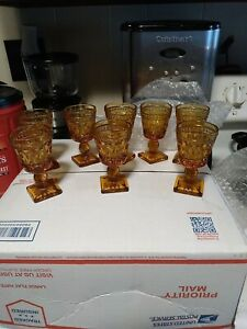 VINTAGE AMBER INDIANA GLASS CORDIAL GOBLETS, SET OF 8