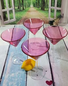 Martini Glasses made of 'Plastic' Set of 4, Pretty in pink 6 oz each