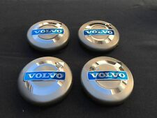 NEW 4PC SET OF 4 VOLVO GRAY CENTER WHEEL HUB CAPS COVER BLUE LOGO RIMS 3546923