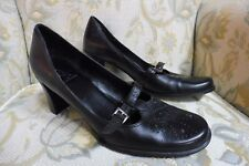 EA Etienne Aigner Black Leather Mary Jane Oxford Pumps Buckle 24686 Size 9