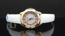 Bulova 98P119 Diamond Mother-of-Pearl White Leather Rose Gold Tone Women's Watch