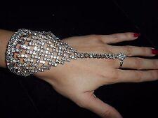 Bracelet Chain Ring Rhinestone Crystals Shiny Gypsy Wedding Formal Party Unique