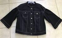 WORTH New York Women's Blazer Jean Jacket L 3/4 Sleeve Stretch Pockets Black O12