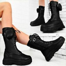 Womens Pocket Belted Combat Ankle Boots Oversize Chunky Tread Sole Boots Size