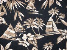Hawaiian Shirt Mens XL Sailboats Palms Black Tan Storybook Style Matched Pocket