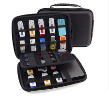 Large Portable Carry Case 23 Elastic Bands Cables,USB Sticks,Hard Drive,Memory C