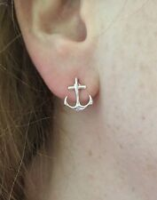 Trendy Anchor Stud  Earrings Silver Tone  New