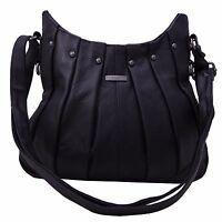 Ladies Women Genuine Leather Handbag Black Soft Cross Body Shoulder Bag 3731