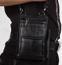 Men fashion Waist Fanny Pack Genuine Leather Small Messenger Shoulder Hook Bag