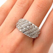 925 Sterling Silver Real Diamond Ring Size 9
