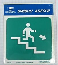 Placa señalización adhesivo Letterfix Verde Blanco escalera salida baja derecho