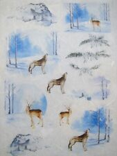 Rice Paper for Decoupage Scrapbook Craft Wild Animals Winter Landscape 237