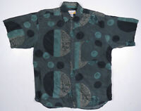 Vintage 80s 90s Abstract Geometric Shapes Multi Color Silk Short Sleeve Shirt L