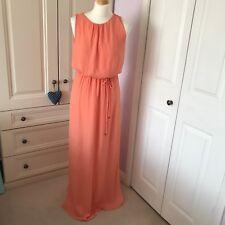 Zara Peach Salmon Orange Sleeveless Grecian Maxi Dress Deep Side Splits Small