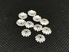 10 x Sterling Silver Flower Petal Bead Caps