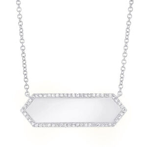 Diamond Pendant 14K White Gold Engravable ID Dog Tag Name Plate Necklace 0.12ct