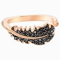 Swarovski 5495296 Naughty Motif Ring, Black, Rose-gold Plated Size 55  RRP $129